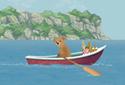 Teddy and the Seagulls animated Flash ecard