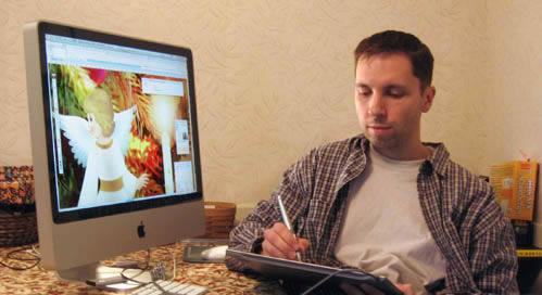John working on his Christmas card